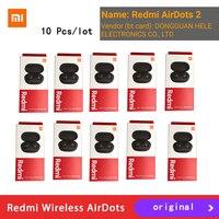 10 unids/lote Original de mi Airdots 2 Xiaomi Redmi TWS auricular Bluetooth inalámbrico verdadero 5,0 mi inalámbrica auriculares 6 uds