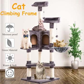 Domestic Delivery Cat Scratching House Cat Scratching Post Wood Climbing Cat Tree Pet Home Cat Luxury Jumping Frame Furniture