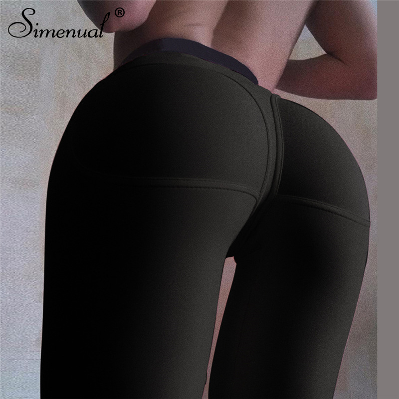 Simenual Sporty Fitness Active Wear Women Leggings Workout Push Up Athleisure Fashion High Waist Leggings Female Sports Wear Hot