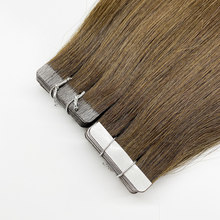 Bluelucky One Donor Brown Colors Virgin Remy Human Hair Tape In Extensions Straight 2.5g/Piece