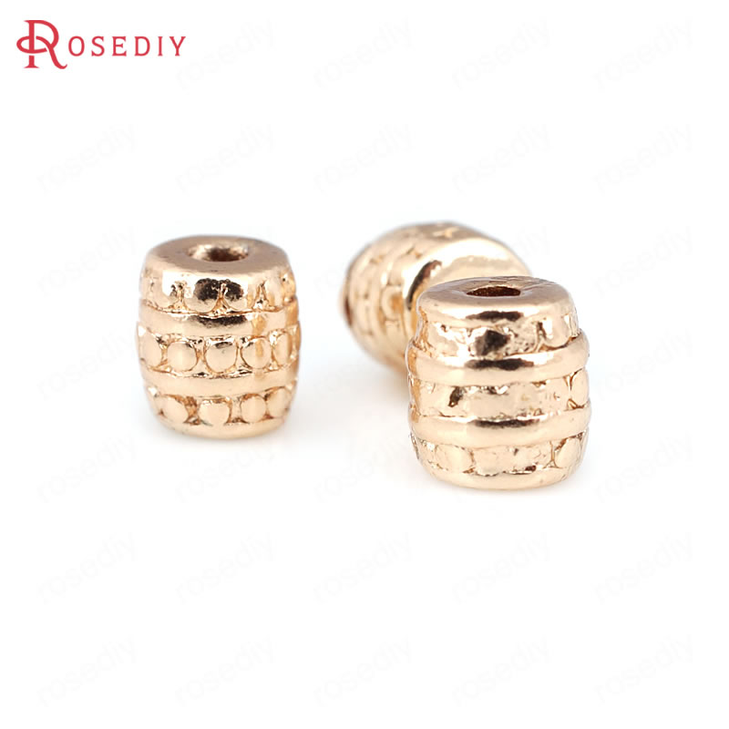 12PCS 6.7x6.7MM 24K Champagne Gold Color Plated Brass Barrel Spacer Beads Bracelet Beads High Quality Jewelry Accessories