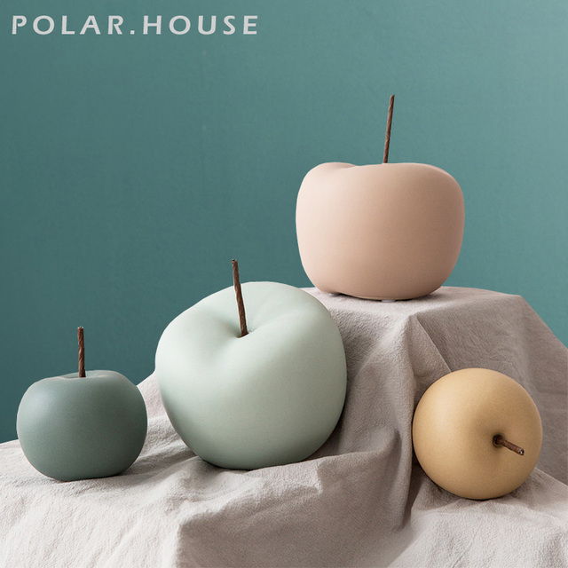 Modern Macaron Home Decor Ceramic Apple Figurines Fruit Arts & Crafts Home Decoration Accessories Sweet Tabletop Ceramic Statues 1