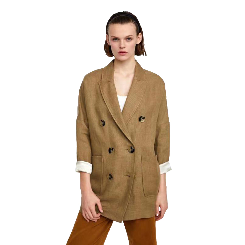 Diwish New Women's Suit Office Lady Double Breasted Blazer Feminino Plus Size Casual Jacket Khaki Coats Solid Notched Clothes
