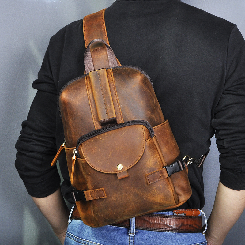 Crazy Horse Leather Men Casual Fashion Travel Triangle Chest Sling Bag Design 10