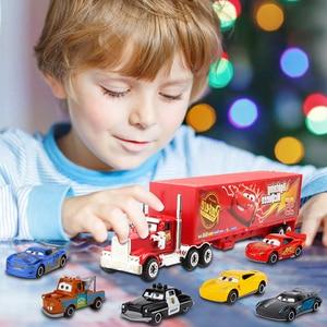 Image 5 - 7Pcs/set Disney Pixar Cars 3 Lightning McQueen Jackson Storm Cruz Mater Mack Uncle Truck 1:55 Diecast Metal Car Model Boy Toy