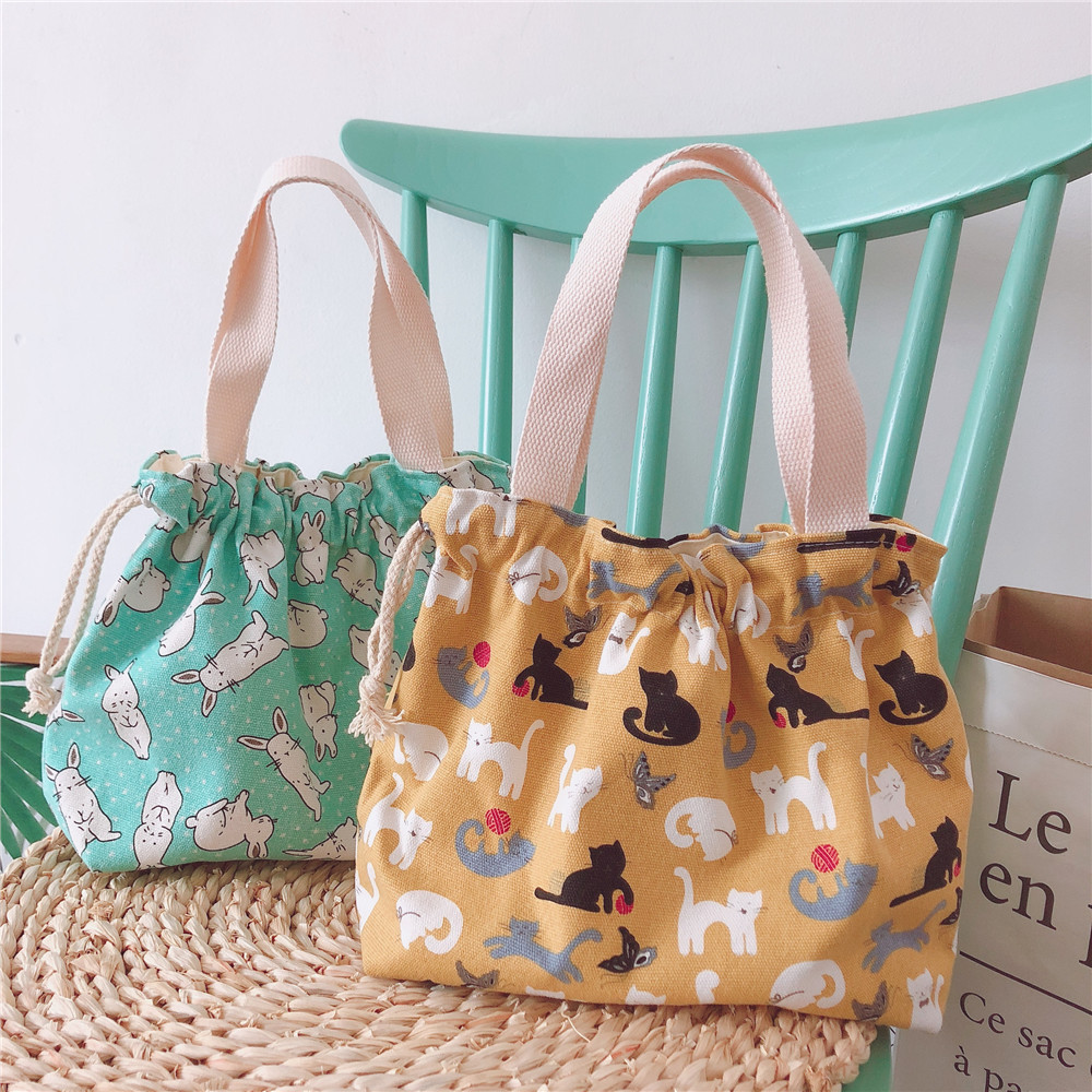 [The Butterfly Cloth Bag] Summer New Products Drawstring Hand Small Cloth Bag Bento Box Bag Printed Canvas Cartoon Cute Korean-s