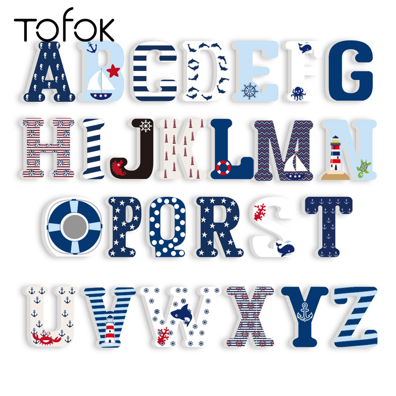 Tofok 3D 26-Letters Home DIY Decoration Sea Boat Sailor Theme Kids Room Living Room Art Craft Nursery Puzzle Party Ornament