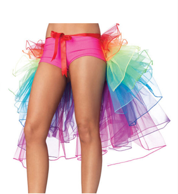 Lady's Rainbow Tail Ballet Tutu Skirt For Women New Halloween Costume Cosplay Fluffy Organza Rave Dance Skirt
