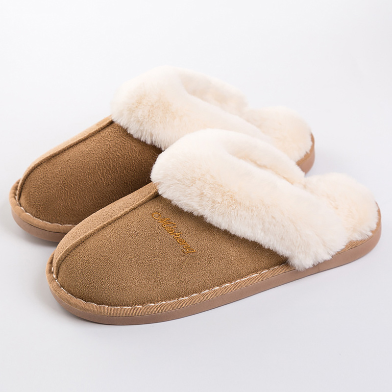 Women's Slippers Suede Big Size 43-46 Winter Slippers Plush Non Slip Home Slippers For Girl Keep Warm Memory Foam
