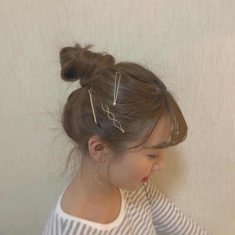 rhinestone hair clips 3 Pcs/set Baru Wanita Mutiara Logam Tidak Teratur Klip Rambut Bobby Pin Barrette Jepit Rambut Rambut Styling Aksesoris Alat Bulang