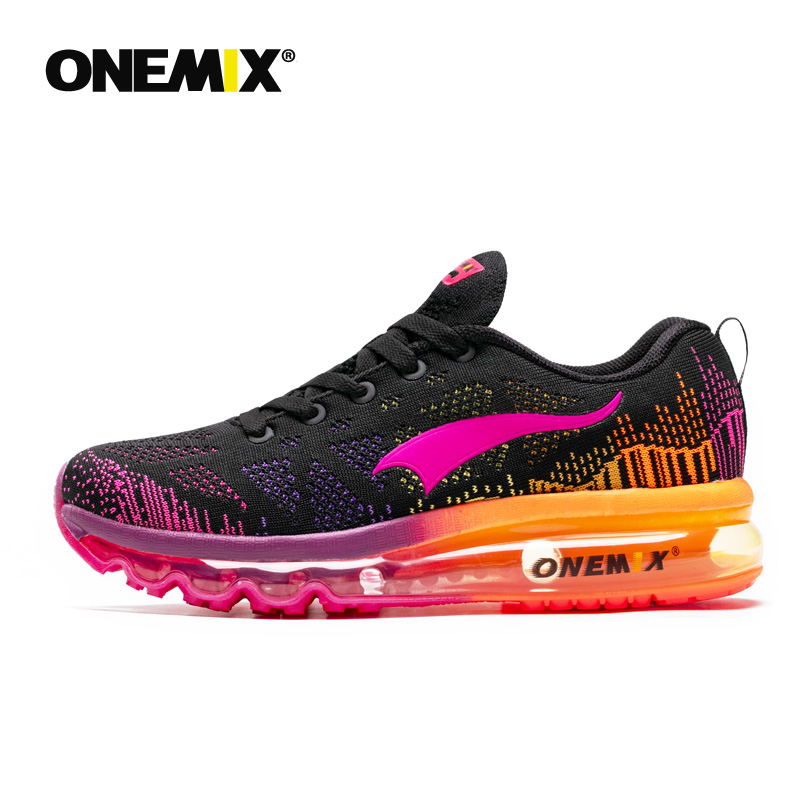 ONEMIX Women's Running Shoes Walking Sneakers Breathable Knitted Anti Slip Athletic Outdoor Air Cushion Sports Shoes For Woman