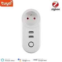 Tuya مقبس ذكي Zigbee FR ، تحكم صوتي ، Tuya Zigbee 3.0 FR ، شحن USB مزدوج ، Google Home