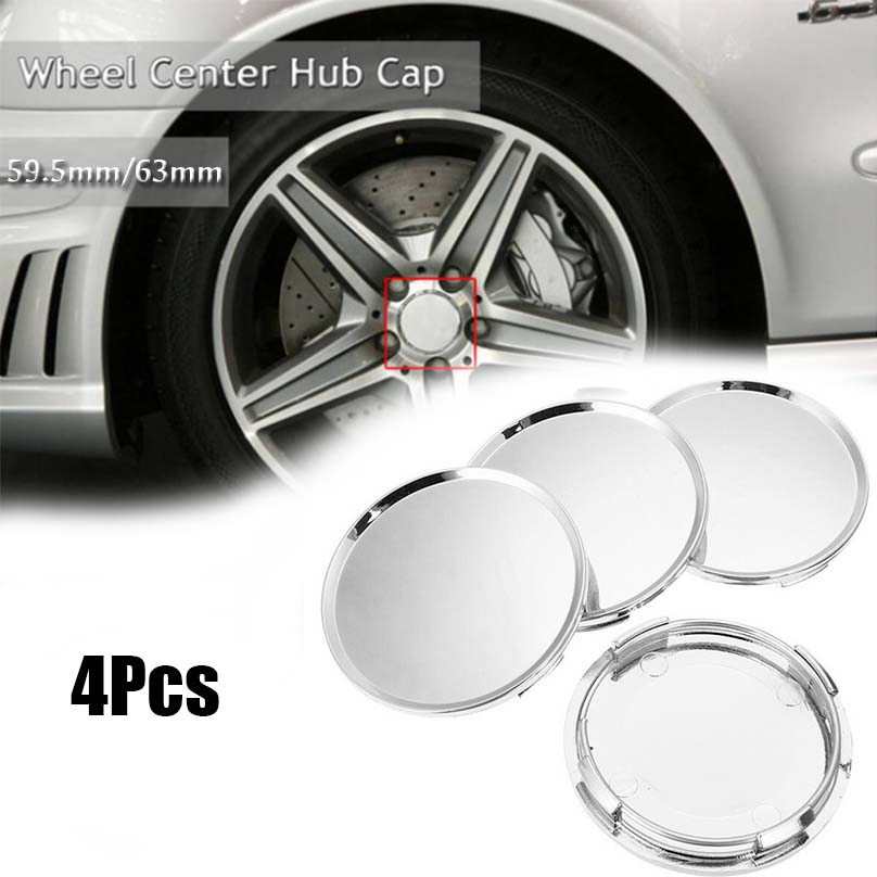 uxcell 4 Pcs 63mm Dia 4 Lugs Auto Car Tire Wheel Rim Center Hub Caps Cover Silver Tone