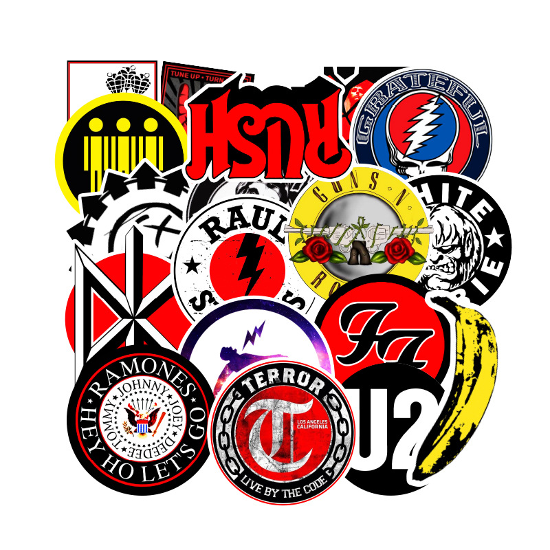 100pcs Retro Rock Band Music Sticker Grean Day RHCP Luggage For Toys Guitar Suitcase Skateboard DIY Waterproof Stickers F4