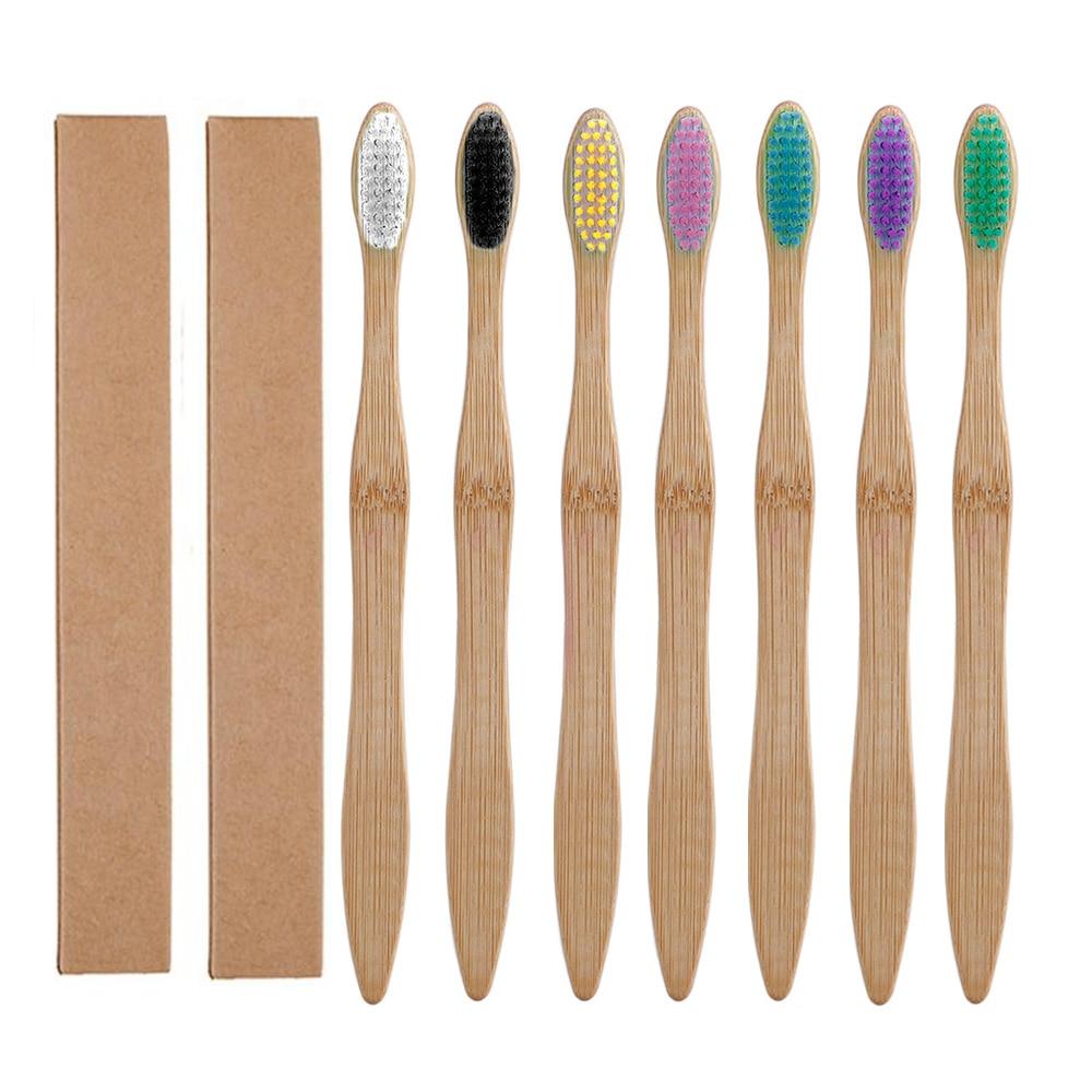 Бамбуковая биоразлагаемая зубная щетка средней твердости, 10 шт., радужная щетка для зубов, Бамбуковая зубная щетка, уход за полостью рта
