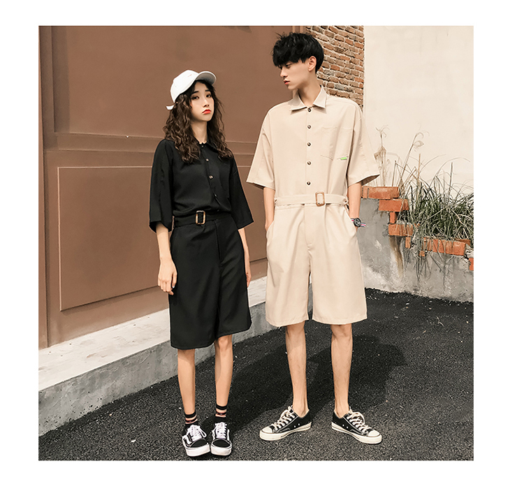 LAPPSTER Jumpsuit Men Harajuku Belt 2020 Summer Couple Women Jumpsuit Plus Size Black Cargo Overalls Pants Korean Style Fashion 79
