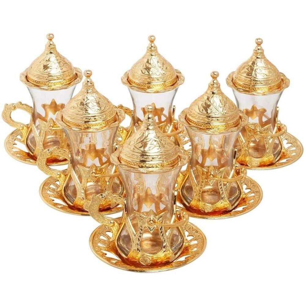 수제 정통 디자인 터키어 그리스어 아랍어 차 세트 6 서비스 차, 컵 접시 뚜껑 트레이 기쁨 사탕 접시 선물