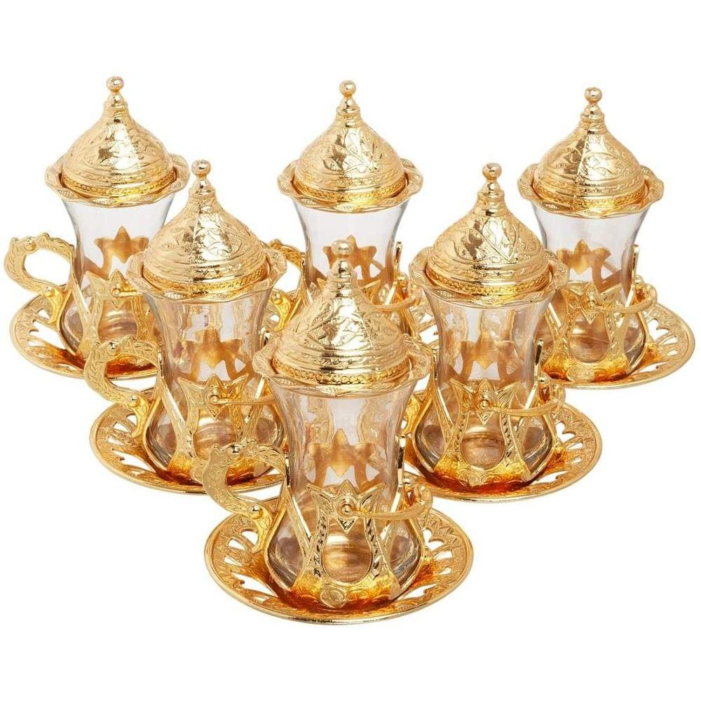 Handmade Authentic Design Turkish Greek Arabic Tea Set For 6 Service Tea, Cups Saucers Lids Tray Delight Candy Dish GIFT