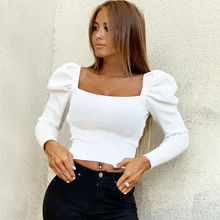 Retro Women Autumn Shirts Solid Color Puff Sleeve Square Collar Slim Blouses Top