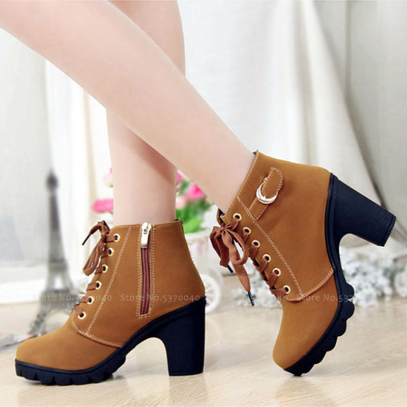<font><b>Women</b></font> Gothic <font><b>Loli</b></font> High Heels Ankle Short Boots Lady Sexy Lace-up Fashion Mujer Autumn Zipper Shoes Lolita Party Cosplay <font><b>Costumes</b></font> image