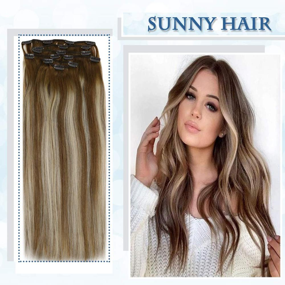 VeSunny Double Weft Clip In Hair Extensions Real Human Hair 7pcs 120gr Clip Hair Balayage Medium Brown Highlights Blonde #6/60/6