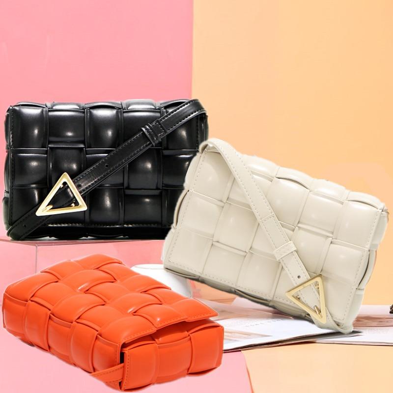 Padded Cassette Stitching Square Bread Bag Designer Luxury Handbag Women Plaid Leather Purse Retro Lady Shoulder Messenger Bag