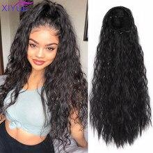 Красивые афро кудрявые волосы в виде хвоста, индийские волосы для наращивания, хвост пони для женщин, черные коричневые волосы на заколках в...