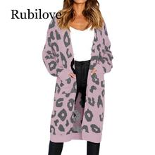 Rubilove 2019 Long Cardigan Sweater Leopard Print Sleeve Knitwear Women Autumn Harajuku