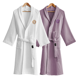 Brand Five-star Hotel Bathrobe Men Women Autumn Winter Thick Cotton Waffle Bath Robe Male Crown Embroidery Absorbent Towel Robes
