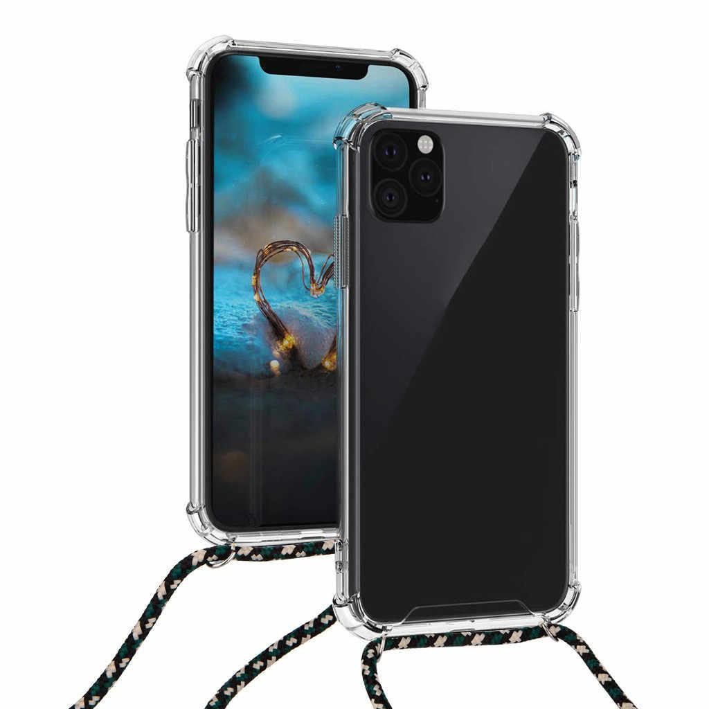 Untuk iPhone 11/11 Pro/11 Pro Max Lanyard Leher Tali Retractable String Silicone Phone Cover Case untuk iPhone X /X Max/XR/7/8/8 PLUS