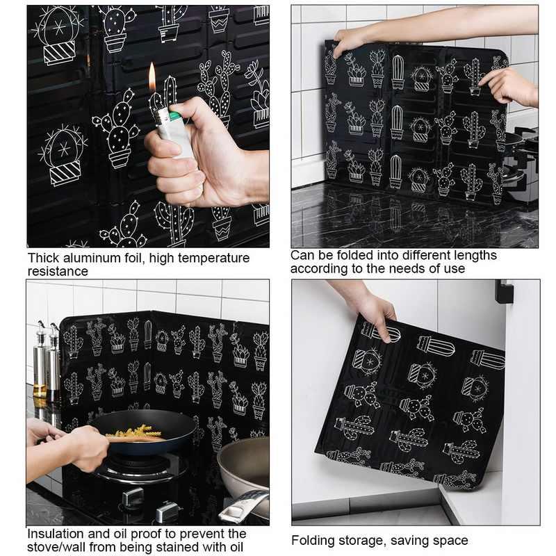 แคคตัสพิมพ์อลูมิเนียมฟอยล์ Block Barrier เตา Cook Anti-Splashing น้ำมัน Baffle ความร้อนเครื่องครัวห้องครัวฉนวนกันความร้อน
