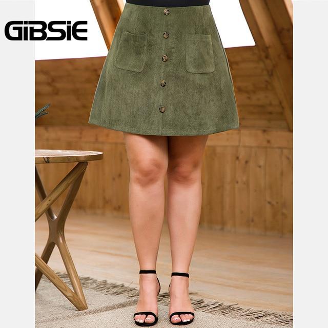 GIBSIE Plus Size Women Solid Button Corduroy Skirt Autumn winter Pocket Casual Office Lady High Waist Fashion Slim A-line Skirt 3