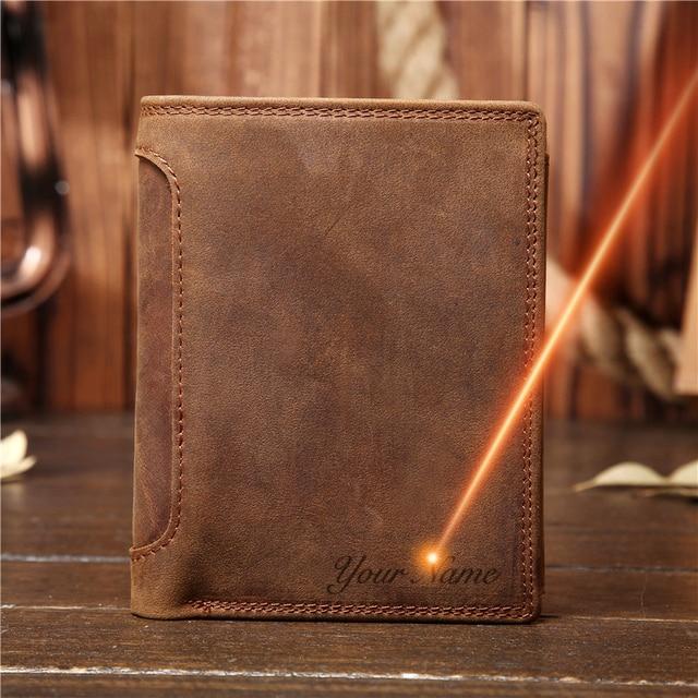 هدية عيد الأب خمر تخصيص جلد البقر الحقيقي قصيرة سميكة بطاقة النقدية عملة حافظة نقود حامل جيب للرجل 566