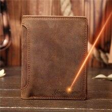 Dzień ojca prezent Vintage dostosuj prawdziwej skóry wołowej krótkie grube gotówka portfel na karty i monety kiesy kieszonkowy uchwyt dla człowieka 566
