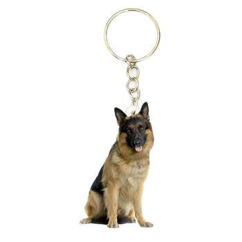 Dog Acrylic Wolfhound Keyring Stainless Steel Keychain Men Key Chain Gifts for Women Keyring Gift for Boyfriend Bag Accessories image
