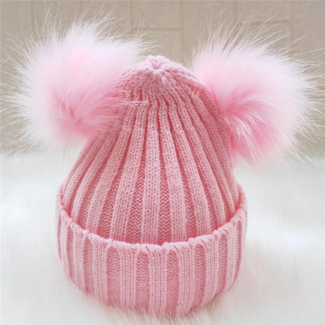 Amazon AliExpress ebay explosion models childrens autumn and winter knitted wool hat double ball wool hat imitation fox fur hat