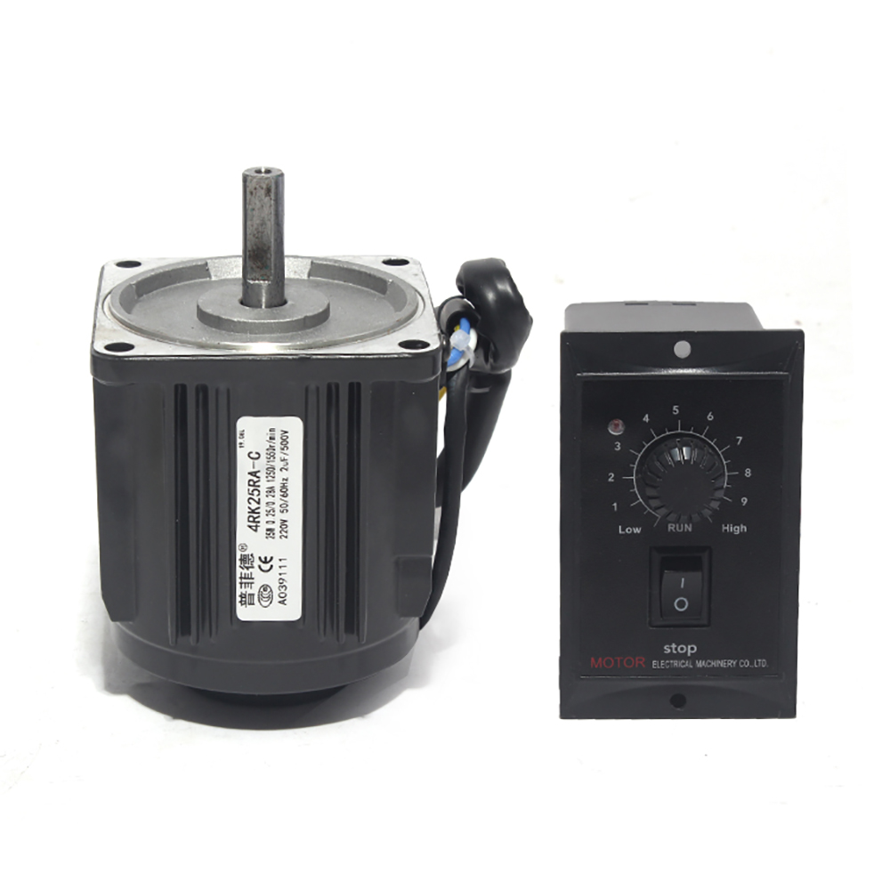 220V 25W Optical Axis Deceleration Geared AC Motor 1250RPM With Speed Controller Y