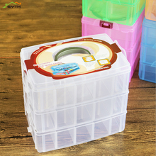 Practical jewelry storage adjustable plastic compartment box earrings lid container three layers