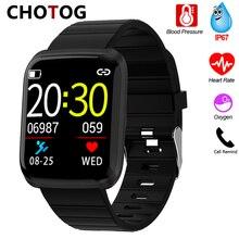 Smart Uhr Männer Blutdruck Messung Smartwatch Frauen Wasserdichte IP67 Sport Uhr Smart Herz Rate Sauerstoff Für Android IOS