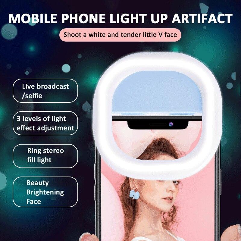 LED Selfie halka ışık güzellik kız için aydınlatma gece karanlık özçekim artırıcı cep telefonu öz aydınlatma halkası yanıp söner