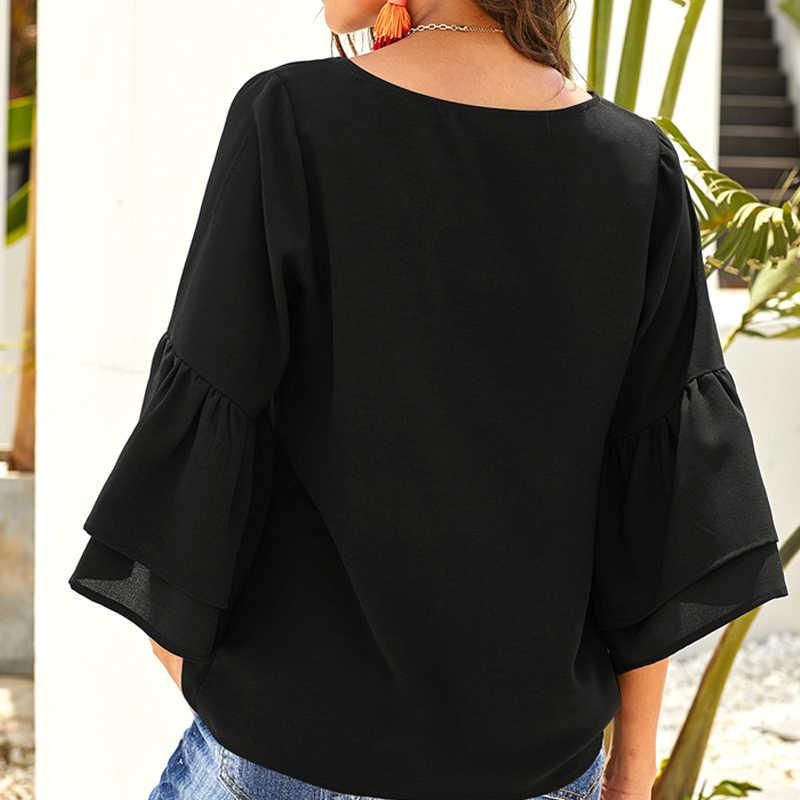 女性 V ネックボタンブラウス蝶半袖固体黒、白ブラウスシャツ秋トップス