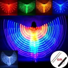 Dança do ventre asas led crianças desempenho fluorescente borboleta isis asas dança do ventre carnaval trajes led mostra