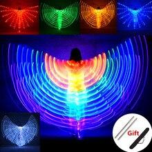 배꼽 춤 LED 날개 어린이 성능 형광 나비 이시스 날개 배꼽 춤 Bellydance 카니발 Led 의상 쇼