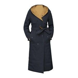 Женская зимняя куртка на 90% утином пуху, Женская парка с капюшоном, двухстороннее пальто в Корейском стиле