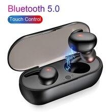 ב אוזן Bluetooth אוזניות TWS 5.0 אינטליגנטי מגע שליטה אלחוטי אוזניות עמיד למים 3D צליל סטריאו ספורט אוזניות