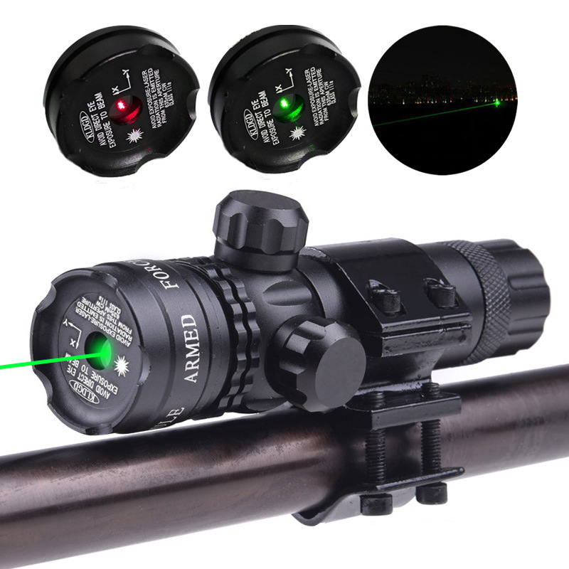 Tactical Laser Pointer Sight Hunting Green Red Dot Rifle Mount Compact Scope Airsoft Sport Rail Barrel Pressure Switch Mount