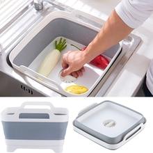 Cubo plegable portátil, lavabo plegable para viajes al aire libre, lavabo de Camping, cuenco para fruta, fregadero, herramientas de limpieza del hogar