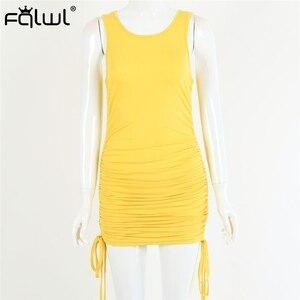 Image 5 - FQLWL zasznurować bandaż lato Mini sukienka kobiety Sundress plisowana Ruched Bodycon sukienka panie Wrap czarny Sexy Party sukienki z dzianiny