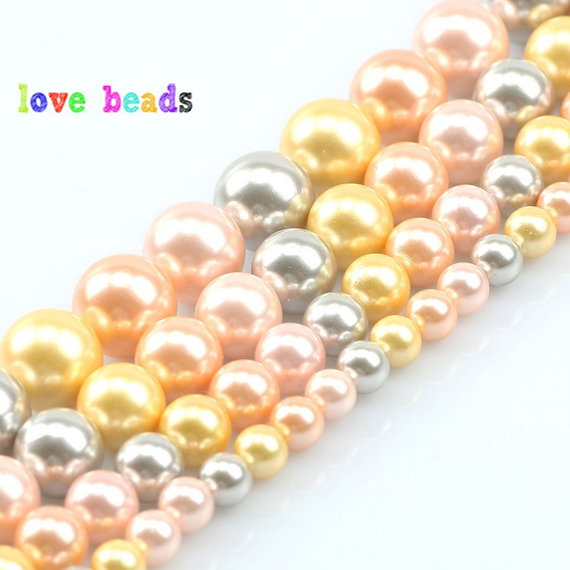 6-12MM Natural Round Freshwater Pearls Yellow Orange Color Mixing Pearls for Jewelry Making DIY Bracelets Necklaces Accessories