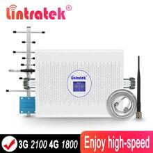 をlintratek 3グラム4グラム1800 lte信号リピータのampli 1800mhz 3グラム2100/400 520mhzデュアルバンド70db agc信号ブースターumts lteアンプアンテナ @ 8